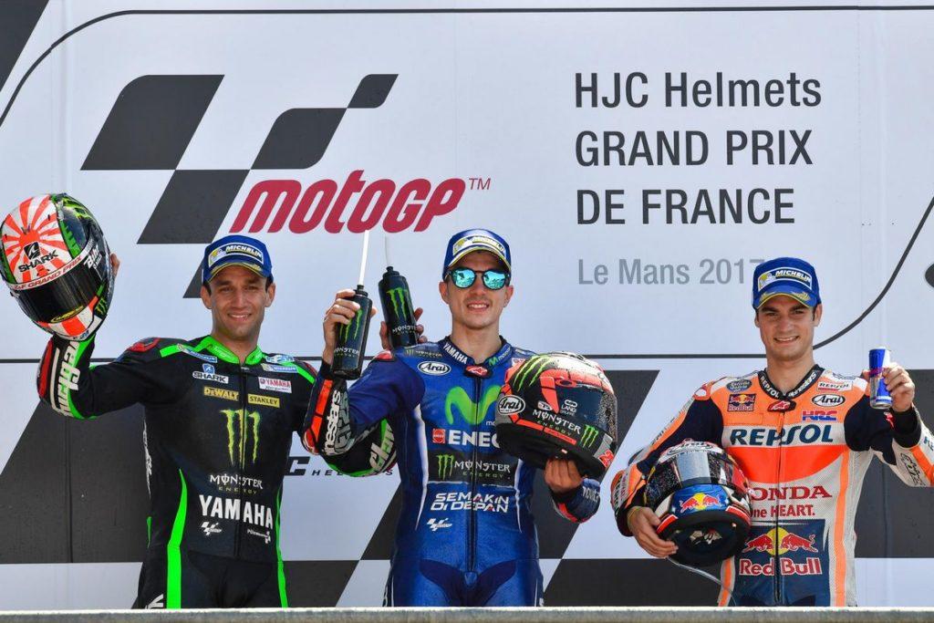 Pódio do MotoGP da França: Viñales, Zarco e Dani Pedrosa