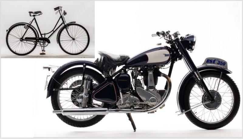 Coleção do Moto Classic Museum que reune bibicletas que foram produzidas por marcas de motos. Neste caso dois exemplares da marca inglesa BSA.