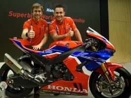 Alvaro Bautista e Leo Haslam (à direita), pilotos da Team HRC, no lançamento da equipe para o Mundial de Superbike 2020. Crédito: HRC. Divulgação: Mundo Press