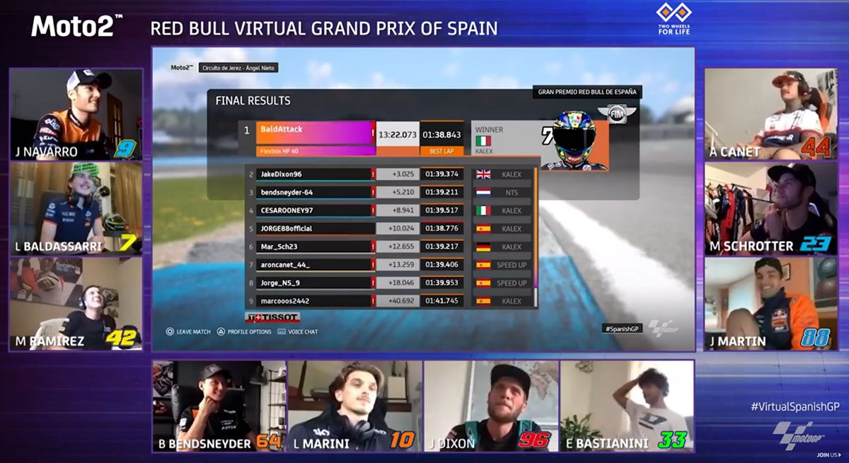 Lorenzo Baldassarri comemora a vitória na Moto2, do Virtual Grand Prix de Jerez
