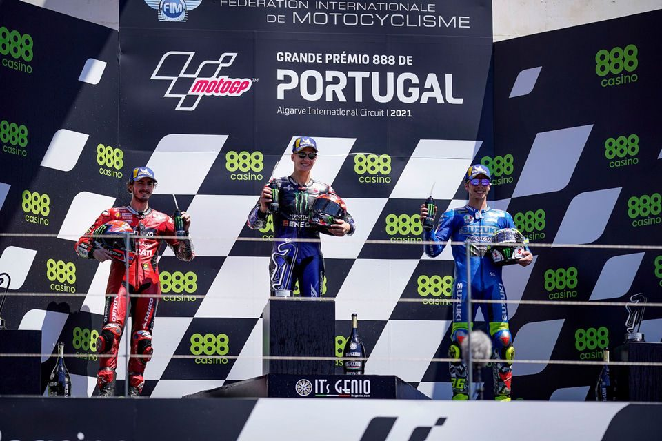 Pódio da MotoGP em Portugal: Quartararo, Bagnaia e Mir